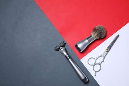 Set of shaving tools on color background, flat lay. Space for text