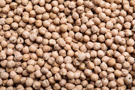 Many chickpeas as background, top view. Natural food