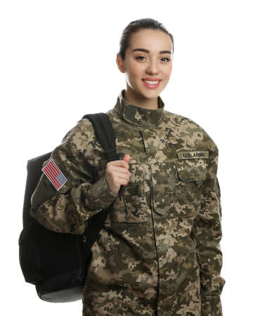 Female soldier with backpack on white background. Military education