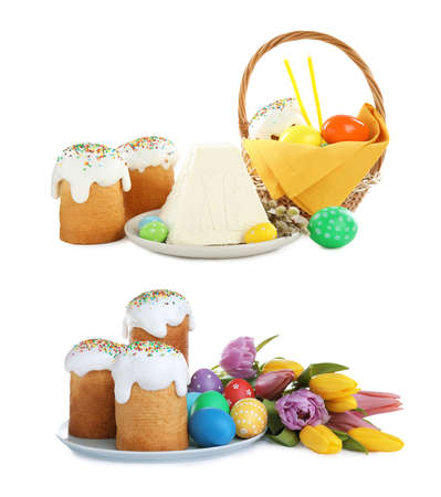 Set with traditional Easter cakes and cottage cheese paskha on white background