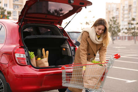 Young woman taking bag of groceries from shopping cart near her car outdoors