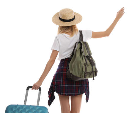 Woman with suitcase walking on white background, back view. Summer travel