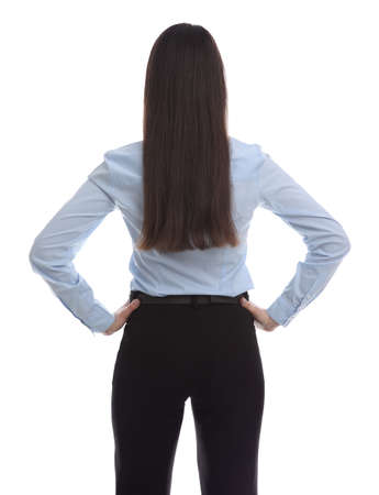 Young businesswoman in elegant suit on white background, back view