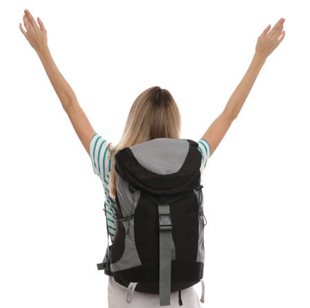 Woman with backpack on white background, back view. Summer travel