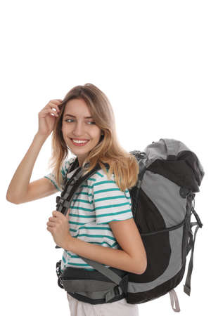 Woman with backpack on white background. Summer travel