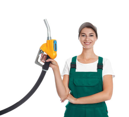Gas station worker with fuel nozzle on white background Stock Photo