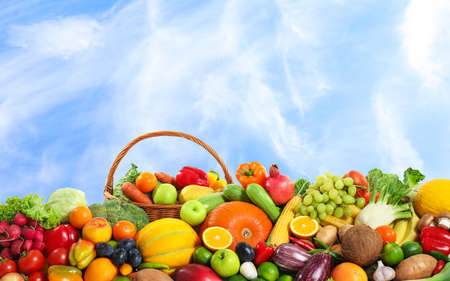 Assortment of fresh organic fruits and vegetables outdoors Stock Photo