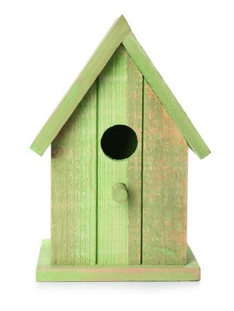 Beautiful green wooden bird box isolated on white