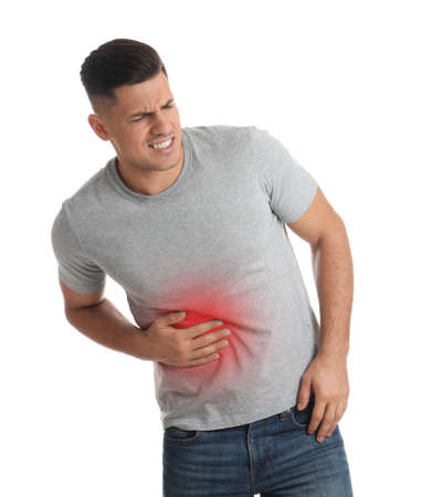 Man suffering from liver pain on white background
