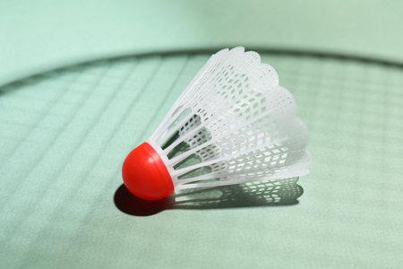 Plastic shuttlecock and shadow of racquet on light background, closeup. Badminton equipment