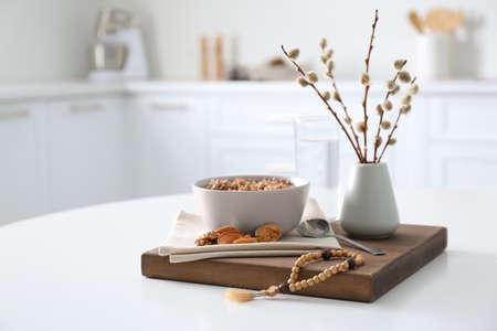Great Lent dinner served on white table in kitchen Standard-Bild