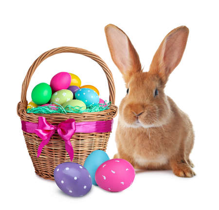 Cute bunny and wicker basket with bright Easter eggs on white background