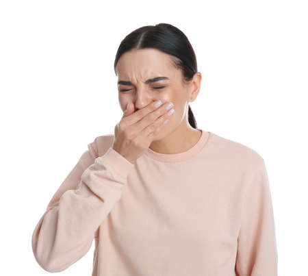 Woman suffering from nausea on white background. Food poisoning