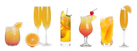 Set with delicious Mimosa cocktails on white background, banner design