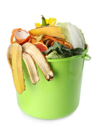 Trash bin with organic waste for composting on white background