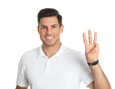 Man showing number three with his hand on white background