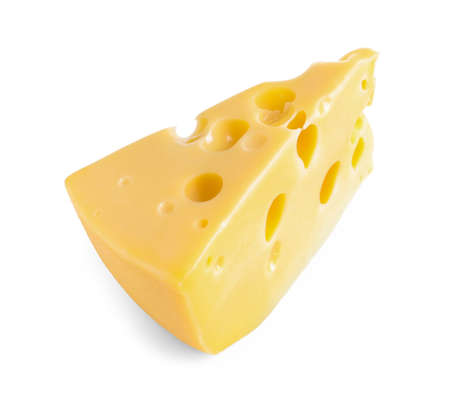 Piece of cheese with holes isolated on white