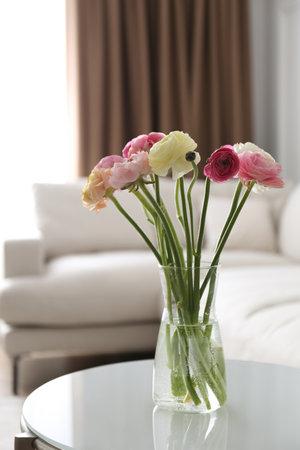 Beautiful ranunculus flowers on table in living room