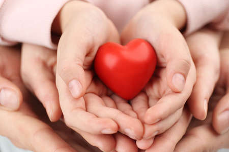 Parents and kid holding red heart in hands, closeup. Family day