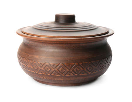 Stylish brown clay pot isolated on white