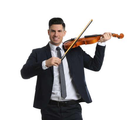 Man playing violin on white background. Music teacher