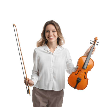 Woman with violin and bow on white background. Music teacher