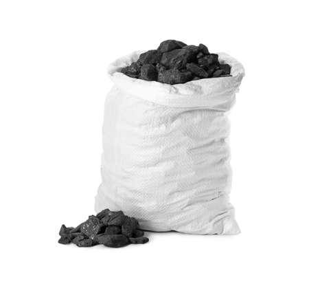 Black coal in sack on white background