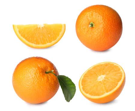 Set with tasty ripe oranges on white background Stockfoto