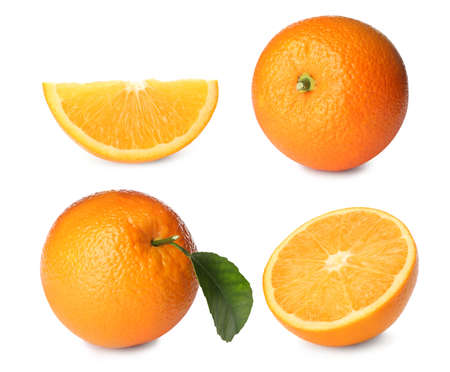 Set with tasty ripe oranges on white background Reklamní fotografie