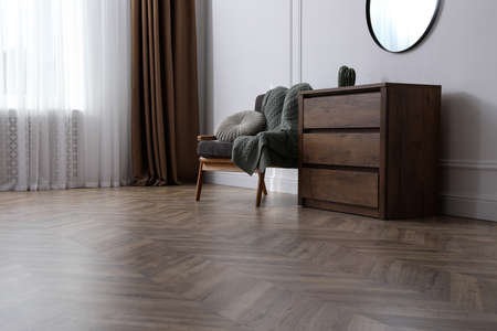 Modern living room with parquet flooring and stylish furniture Foto de archivo