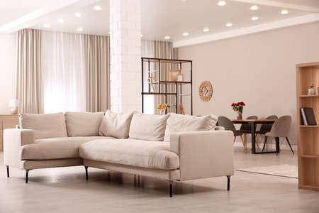 Modern living room interior with comfortable sofa and wooden table Archivio Fotografico