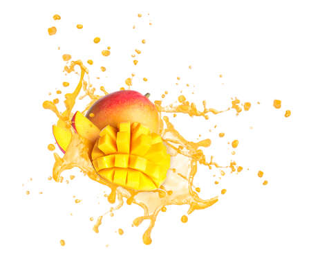 Splash of delicious mango juice on white background Stockfoto