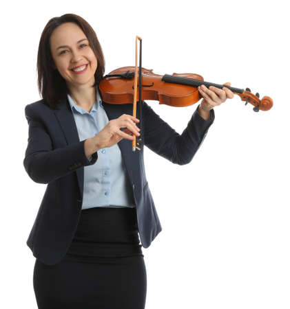 Music teacher playing violin on white background