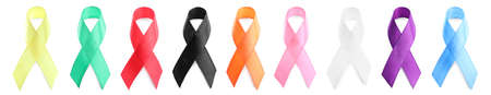 Collection of different color ribbons on white background, banner design. World Cancer Day