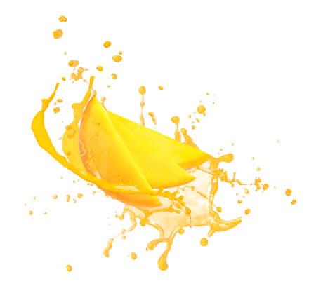 Splash of delicious mango juice on white background