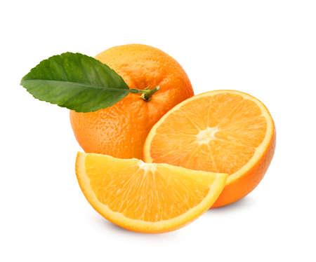 Tasty fresh ripe oranges on white background Stockfoto
