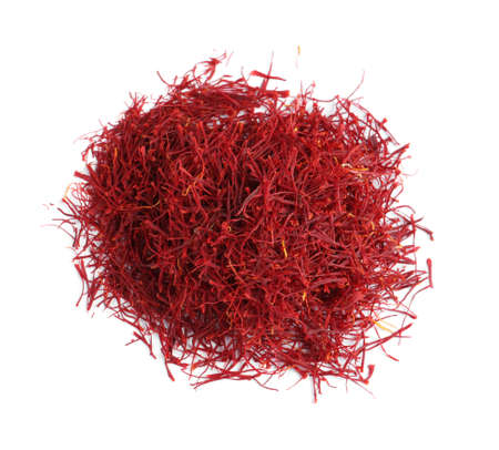 Heap of aromatic saffron on white background, top view Reklamní fotografie