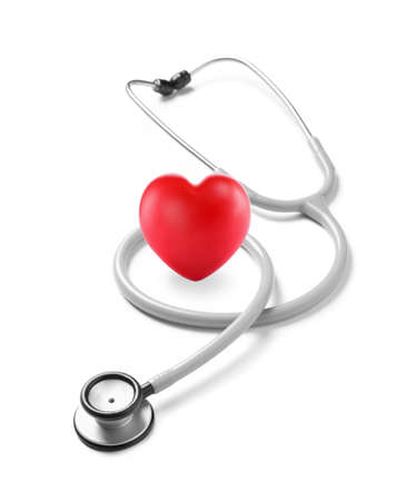Stethoscope and red heart on white background Imagens