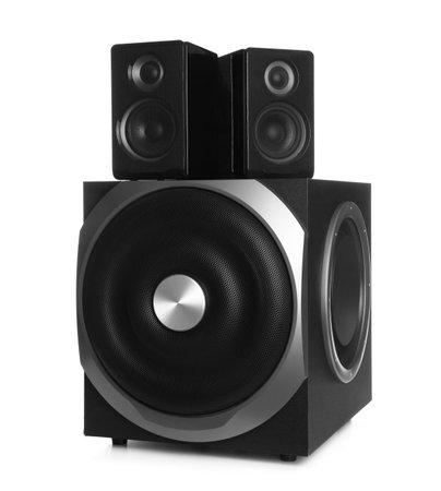 Modern powerful audio speaker system on white background