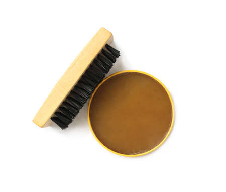 Shoe care accessories on white background, top view