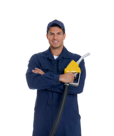 Gas station worker with fuel nozzle on white background