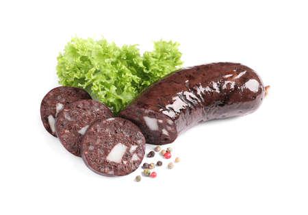 Tasty blood sausages, lettuce and pepper on white background Standard-Bild