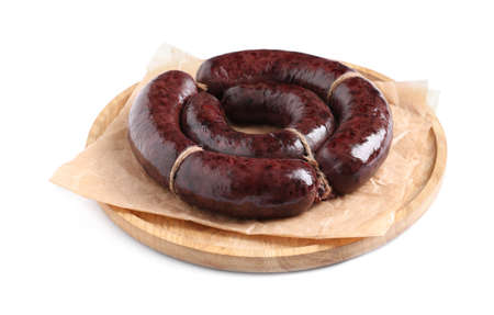 Tasty blood sausages and wooden board on white background