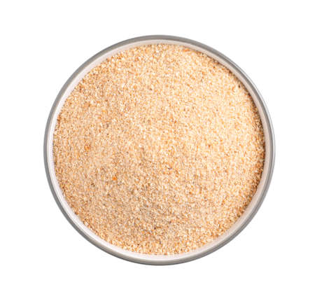 Fresh bread crumbs in bowl isolated on white, top view Stock fotó