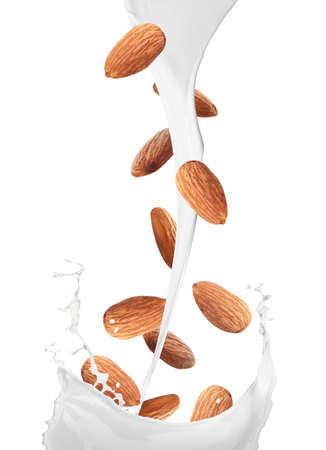Delicious almond milk and nuts on white background