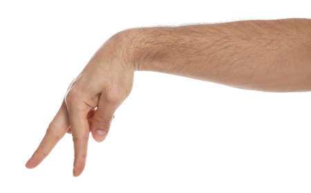 Man imitating walk with hand on white background, closeup. Finger gesture Stock Photo