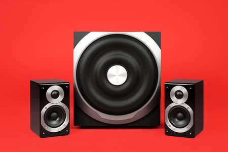 Modern powerful audio speaker system on red background Stockfoto