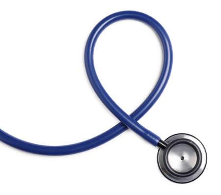 Modern stethoscope on white background, top view Zdjęcie Seryjne