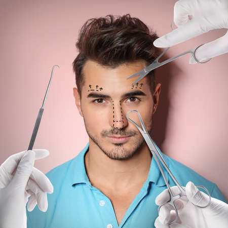 Doctors with different instruments and young man on pink background, collage. Concept of plastic surgery