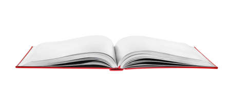 Open book with red cover on white background